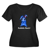 Rabbits Rock! Women's Plus Size Scoop Neck Dark T-
