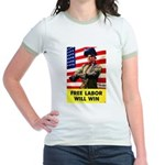 Free Labor Will Win (Front) Jr. Ringer T-Shirt