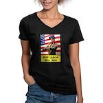 Free Labor Will Win (Front) Women's V-Neck Dark T-