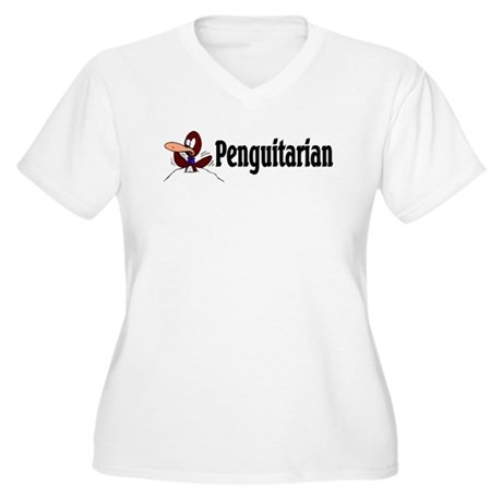 Penguitarian Penguin Women's Plus Size V-Neck T-Sh