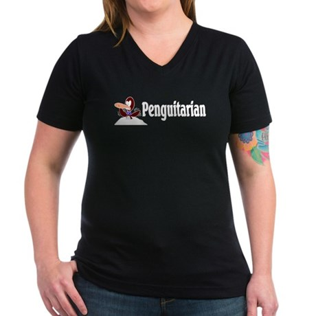 Penguitarian Penguin Women's V-Neck Dark T-Shirt