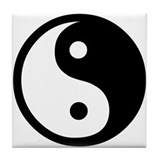 Black and White Yin Yang Bala Tile Coaster