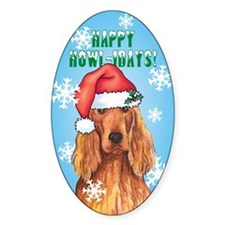 Holiday Irish Setter Oval Decal