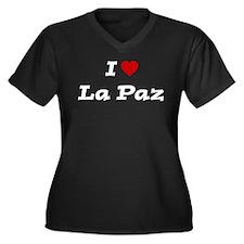 I HEART LA PAZ Women's Plus Size V-Neck Dark T-Shi