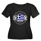 Greece Soccer Women's Plus Size Scoop Neck Dark T-