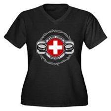Switzerland Hockey Women's Plus Size V-Neck Dark T