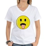 Smiley Face - Tongue Out Women's V-Neck T-Shirt