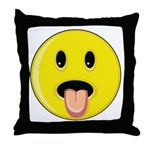 Smiley Face - Tongue Out Throw Pillow