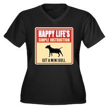 Miniature Bull Terrier Women's Plus Size V-Neck Da