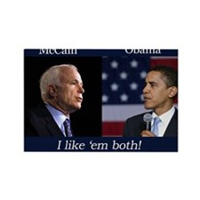 I Like em Both! McCain & Obama Rectangle Magnet