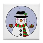 adorable snowman tile coaster