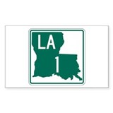 Highway 1, Louisiana Rectangle Sticker 50 pk)