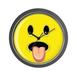 Smiley Face - Tongue Out Wall Clock