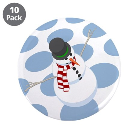 "Bliz the Snowman Dotted 3.5"" Button (10 pack)"