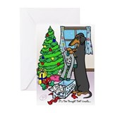 Black Tan Dachshund Funny Christmas Cards (10)
