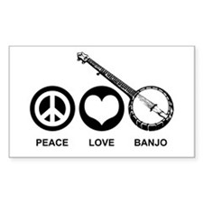 Peace Love Banjo Rectangle Decal