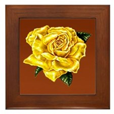 Yellow Rose Brown bkg Framed Tile