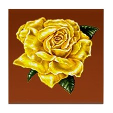 Yellow Rose Brown bkg Tile Coaster