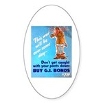 Comic Pants Down Humor Oval Sticker (10 pk)