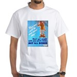 Comic Pants Down Humor (Front) White T-Shirt