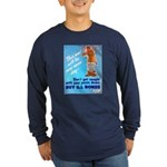 Comic Pants Down Humor (Front) Long Sleeve Dark T-