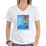 Comic Pants Down Humor (Front) Women's V-Neck T-Sh