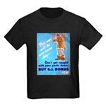 Comic Pants Down Humor (Front) Kids Dark T-Shirt