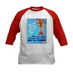 Comic Pants Down Humor (Front) Kids Baseball Jerse
