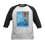 Comic Pants Down Humor Kids Baseball Jersey