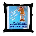 Comic Pants Down Humor Throw Pillow