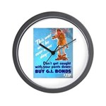 Comic Pants Down Humor Wall Clock