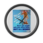 Comic Pants Down Humor Large Wall Clock