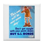Comic Pants Down Humor Tile Coaster