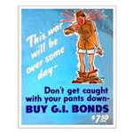 Comic Pants Down Humor Small Poster