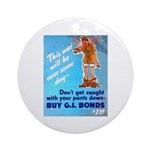 Comic Pants Down Humor Ornament (Round)