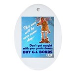 Comic Pants Down Humor Oval Ornament