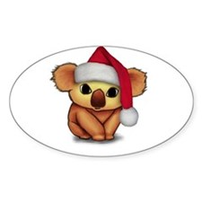 Christmas Koala Oval Decal