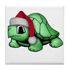 Christmas Turtle Tile Coaster