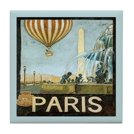 Vintage Paris Travel Balloon Art Tile Coaster