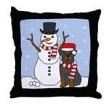 Rottweiler Winter Throw Pillow