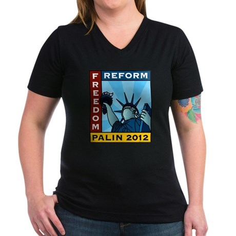 Palin 2012 Liberty Women's V-Neck Dark T-Shirt