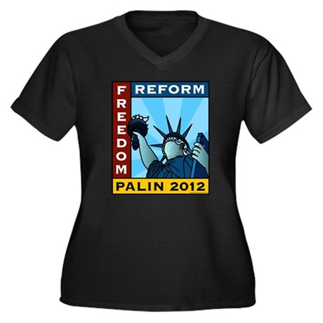 Palin 2012 Liberty Women's Plus Size V-Neck Dark T