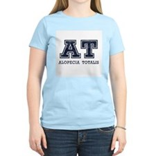 AT Alopecia Totalis Blue Women's Pink T-Shirt