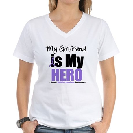 My Girlfriend is My Hero (HL) Women's V-Neck T-Shi