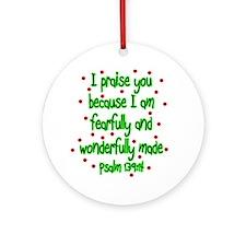 Psalm 139:14 Christmas Ornament