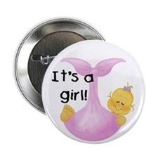 It's a Girl White Baby Button
