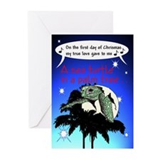 Sea turtle in Palm Greeting Cards (Pk of 10)
