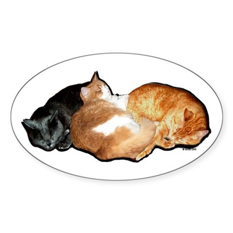 Sleeping Cats Oval Sticker