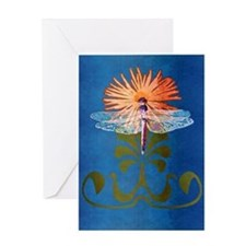 Dragonfly Flower Greeting Card