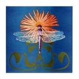 Dragonfly Flower Tile Coaster